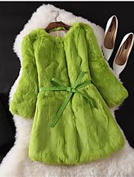 Cappotto di pelliccia Da donna Matrimonio Feste Occasioni speciali Compleanno Ufficio Casual Autunno,Tinta unita RotondaPelliccia di