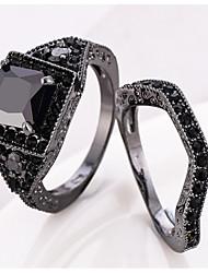Ring Women's Euramerican Luxury Creative Detachable Black Square Rhinestone Zircon Ring Daily Party Gift Movie Jewelry