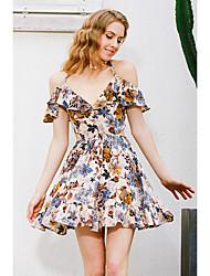 baratos -Mulheres Para Noite Moda de Rua Algodão Evasê Vestido Floral Ombro a Ombro Mini