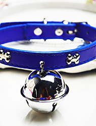 billige -Kat Hund Krave Klokke Ensfarvet PU Læder Sort Blå