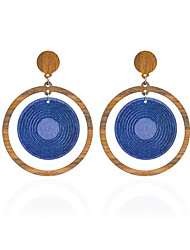 cheap -Women's Drop Earrings Earrings Jewelry Circular Unique Design Basic DIY Cute Style Adorable Simple Style Wood Round Jewelry Blue