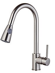 Contemporaneo Di tendenza Miscelatore canna bassa Lavabo Separato Ruotabile Doccetta estraibile with  Valvola in ceramica Nickel