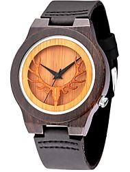 cheap -Men's Fashion Casual Unique Luxury Wooden Genuine Leather Quartz Watches Clock Relogio Masculino Hodinky Hour Handmade