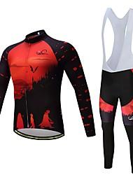 billige -Langærmet Cykeltrøje og tights med seler Cykel Tøjsæt, Hurtigtørrende Polyester, Spandex, Silikone / Lycra
