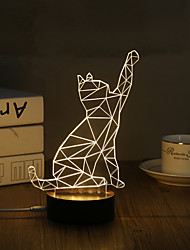 1 Set, Popular Home Acrylic 3D Night Light LED Table Lamp USB Mood Lamp Gifts, Cat