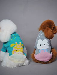 preiswerte -Hund Pullover Hundekleidung Tier Grau Grün Hellblau Wollen Daune Kostüm Für Haustiere warm halten