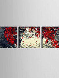 MINI SIZE E-HOME The Lake Under The Red Leaves Clock in Canvas 3pcs