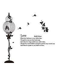 cheap -Wall Stickers Wall Decas Style Bird Cage Love PVC Wall Stickers
