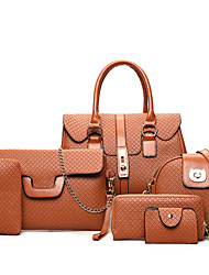 economico -Donna Sacchetti PU (Poliuretano) sacchetto regola Set di borsa da 6 pezzi per Casual Per tutte le stagioni Oro Nero Grigio Marrone