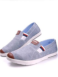 Men's Loafers & Slip-Ons Comfort Spring Fall Canvas Fabric Walking Shoes Casual Office & Career Split Joint Flat Heel Light Blue Light