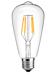 1pcs 4W E26/E27 LED Filament Bulbs ST64 4 COB 360lm Warm White Cold White 2300-6000K Decorative AC220-240V 1pc
