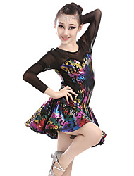 cheap -Shall We Latin Dance Dresses Women's Performance Spandex Tulle Pattern/Print 1 Piece Long Sleeve High Dresses