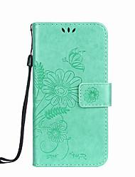 billiga -fodral Till Samsung Galaxy S8 Plus / S8 Plånbok / Korthållare / med stativ Fodral Fjäril / Blomma Hårt PU läder för S8 Plus / S8 / S7 edge