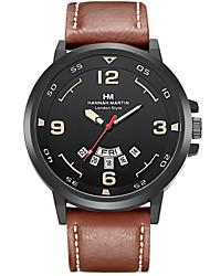 Недорогие -Муж. Модные часы Кварцевый Кожа Материал Группа Повседневная Черный Зеленый