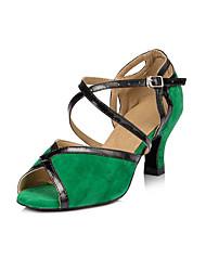 Da donna Balli latino-americani Finto camoscio Tacchi Per interni Animalier Quadrato Verde 7,5 - 9,5 cm 5 - 6,8 cm Personalizzabile
