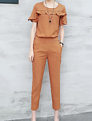 Manches Ajustées Pantalon Costumes Femme,Couleur Pleine Décontracté simple Eté Manches Courtes Col Arrondi Micro-élastique