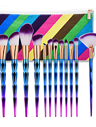 12 Pcs Bentuk Makeup  Set Dazzle Glitter Rainbow Makeup Eyeshadow Blending Yayasan Powder Makeup Brushes Kit
