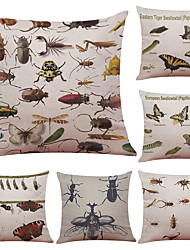 Set of 6 Insect  Elements  Pattern Linen Pillowcase Sofa Home Decor Cushion Cover  Throw Pillow Case (18*18inch)