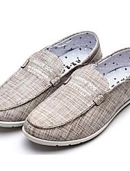 Homens sapatos Tecido Primavera Outono Solados com Luzes Conforto Mocassins e Slip-Ons Caminhada para Casual Ao ar livre Bege Cinzento