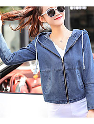cheap -Women's Daily Modern/Contemporary Spring Denim Jacket,Solid Hooded Long Sleeve Short Others