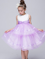 cheap -Princess Knee Length Flower Girl Dress - Satin Sleeveless Jewel Neck with Ruffles by Bflower