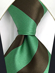 CXL27 Unique New Mens Necktie Extra Long 63 Green Stripes 100% Silk Business Dress