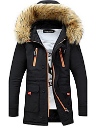 cheap -Men's Long Padded Coat,Street chic Plus Size Solid-Cotton Polypropylene Long Sleeves