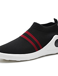 cheap -Men's Loafers & Slip-Ons Comfort Spring Fall Knit Running Shoes Athletic Casual Outdoor Flat Heel Black/White Black/Red Flat