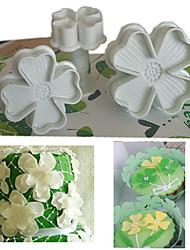 ensemble de 3pcs quatre feuilles trèfle plongeur cutter gâteau décoration fondant gaufrage outil