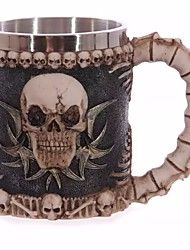 cheap -Personalized Double Wall Stainless Steel 3D Skull Mugs Coffee Tea Bottle Mug Skull Knight Tankard Dragon Drinking Cups Kup Milk Ramdon Color