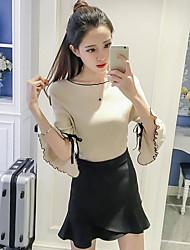 Standard Cardigan Da donna-Casual Tinta unita A V Mezza manica Cotone Estate Sottile Media elasticità