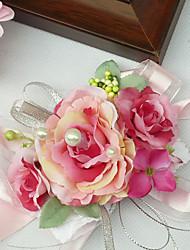 """abordables -Fleurs de mariage Petit bouquet de fleurs au poignet Mariage Mousseline de soie Soie Coton Satin 3.94""""(Env.10cm) 5cm"""