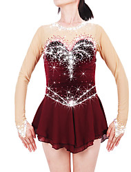 Figure Skating Dress Women's Girls' Ice Skating Dress Claret-red Spandex Chinlon High Elasticity Jeweled Rhinestone Performance Keep Warm