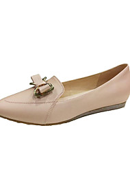 cheap -Women's Flats Formal Shoes Spring Fall Real Leather Office & Career Bowknot Flat Heel White Blushing Pink Light Green Flat