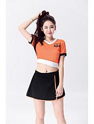 Fantasias para Cheerleader Roupa Mulheres Apresentação Elástico Cetim Elástico 2 Peças Manga Curta Natural Saias Blusas