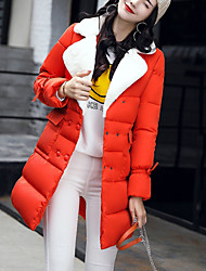 Women's Fashion Slim Thin Double-breasted Long Padded Coat Street chic Casual/Daily Solid-Nylon Polypropylene Long Sleeve Winter
