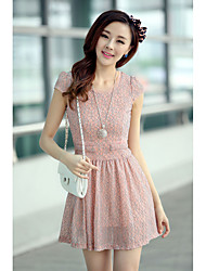 cheap -Women's Daily Lace Dress,Solid Round Neck Knee-length Short Sleeves Rayon Polyester 100%Cotton Summer Mid Rise Micro-elastic Medium