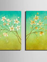 preiswerte -Handgemalte Blumenmuster/Botanisch Vertikal,Retro Zwei Panele Leinwand Hang-Ölgemälde For Haus Dekoration