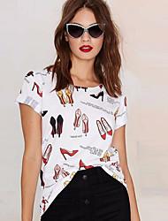 T-shirt Da donna Strada Moda città Estate,Stampe Rotonda Punto roma Manica corta Medio spessore
