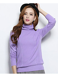 Women's Casual/Daily Cute Regular Pullover,Solid Cowl Neck Long Sleeves Cashmere Spring Thick Stretchy