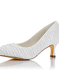 preiswerte -Damen Schuhe Satin Winter Herbst Pumps High Heels Runde Zehe für Hochzeit Party & Festivität Weiß