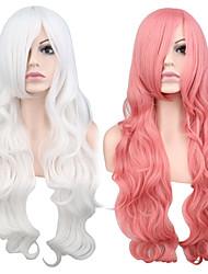 billiga -Syntetiska peruker Vågigt Rosa Syntetiskt hår Vit / Rosa Peruk Dam Lång Utan lock Rosa