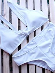 preiswerte -Damen Halfter Bikinis Einfarbig Sport Tiefer Ausschnitt Solide
