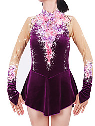 Figure Skating Dress Women's Girls' Ice Skating Dress Amethyst Spandex Chinlon High Elasticity Jeweled Rhinestone Performance Keep Warm