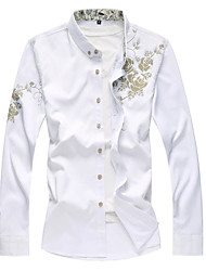 Men's Wedding Casual/Daily Work Chinoiserie Spring Fall Shirt,Floral Shirt Collar Long Sleeve Faux Fur Medium