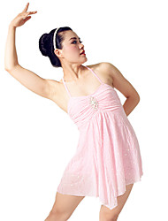Danza classica Abiti Per donna Per bambini Da esibizione Elastene Poliester Ruches Plissettato 2 pezzi Senza maniche NaturaleAbito
