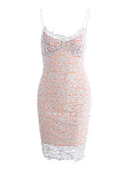 cheap -Women's Cute Sophisticated Street chic Sheath Dress - Solid Colored, Lace