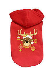 cheap -Dog Hoodie Dog Clothes Reindeer Red Cotton Costume For Pets Christmas