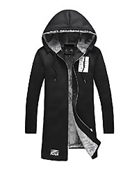 Men's Casual/Daily Simple Winter Trench Coat,Solid Letter Notch Lapel Long Sleeve Regular Cotton