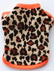 Недорогие -Кошка Собака Плащи Футболка Толстовка Одежда для собак Леопард Черный Цвет-леопард Флис Костюм Назначение Весна & осень Зима Жен. Для вечеринки На каждый день Сохраняет тепло